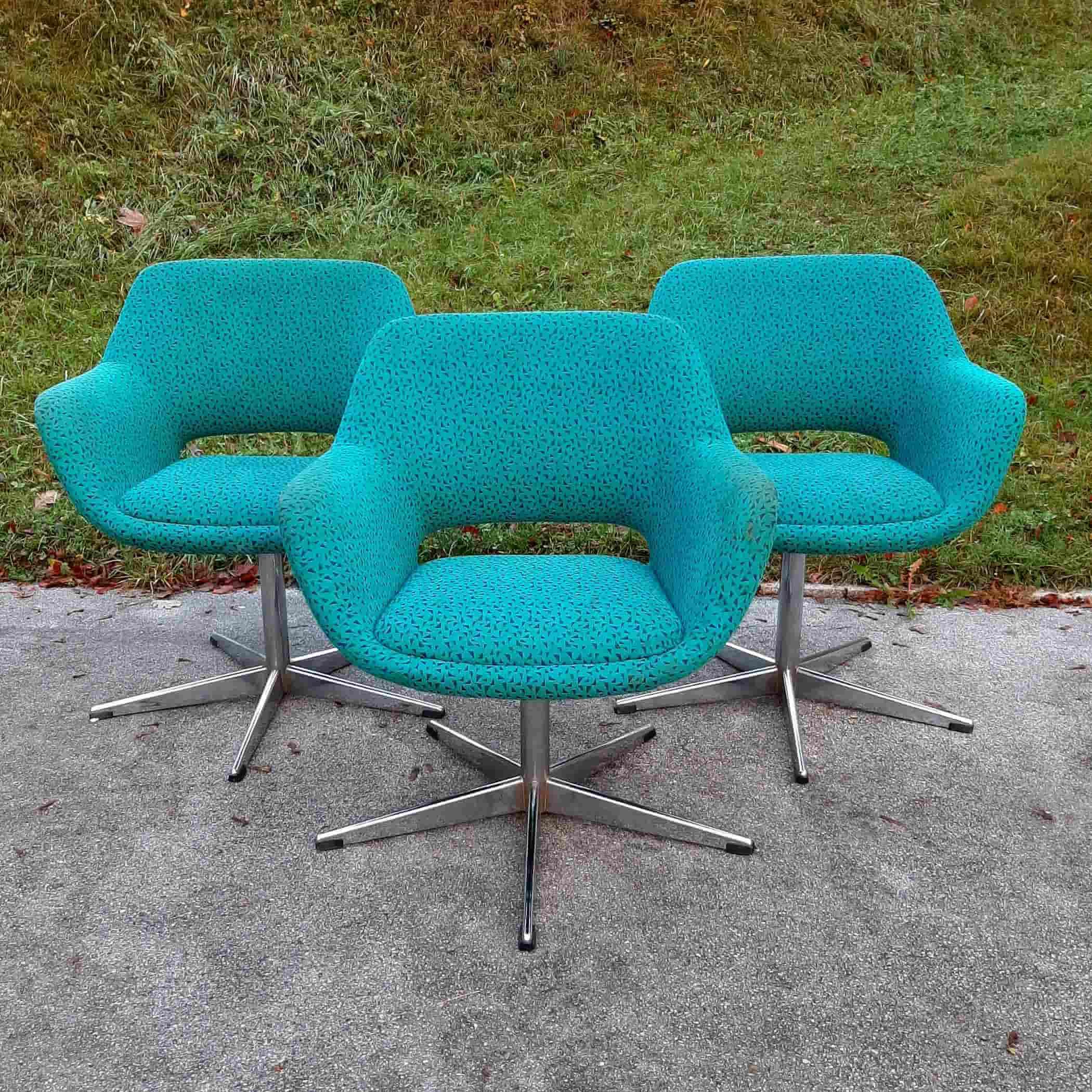 1 of 3 Mid-century office chair Stol Kamnik Yugoslavia 70s Retro desk chair Green Blue Original Textile Egg Chair Vintage Swivel Easy Chair