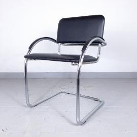 Retro office chairs Yugoslavia '80s Style Bauhaus Cantilever Chair Black desk chair Design by Mart Stam