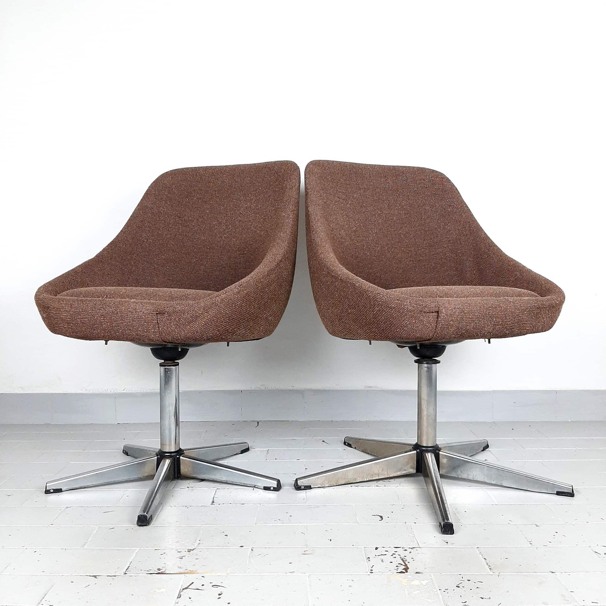 1 of 2 Mid-century office chair Yugoslavia 1970s Retro home office Egg lounge chair Brown Original Textil Swivel chrome metal leg