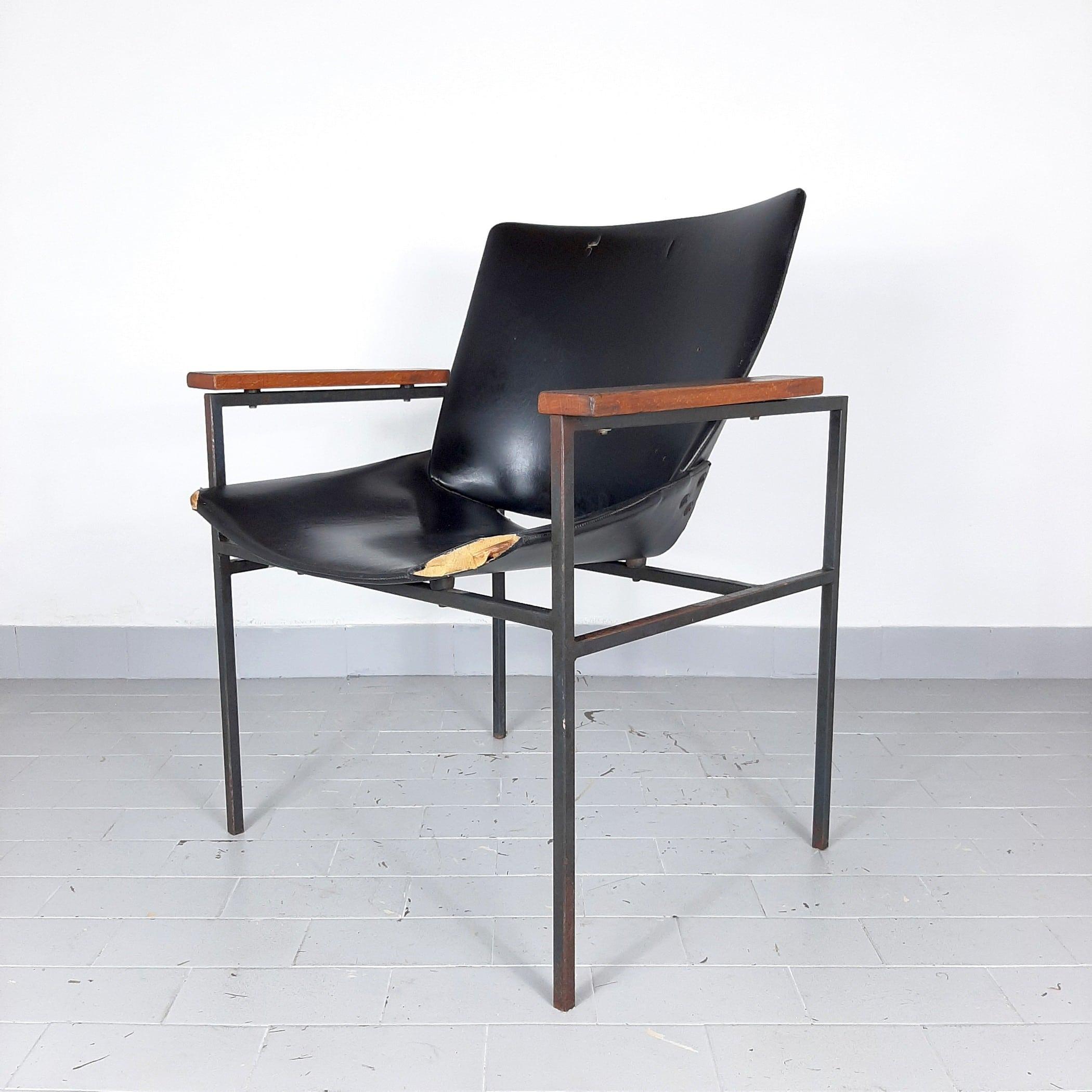 Iconic model Office Lounge Shell 1099FK design Niko Kralj Yugoslavia 1950-1956 Mid-century black chair desk chair