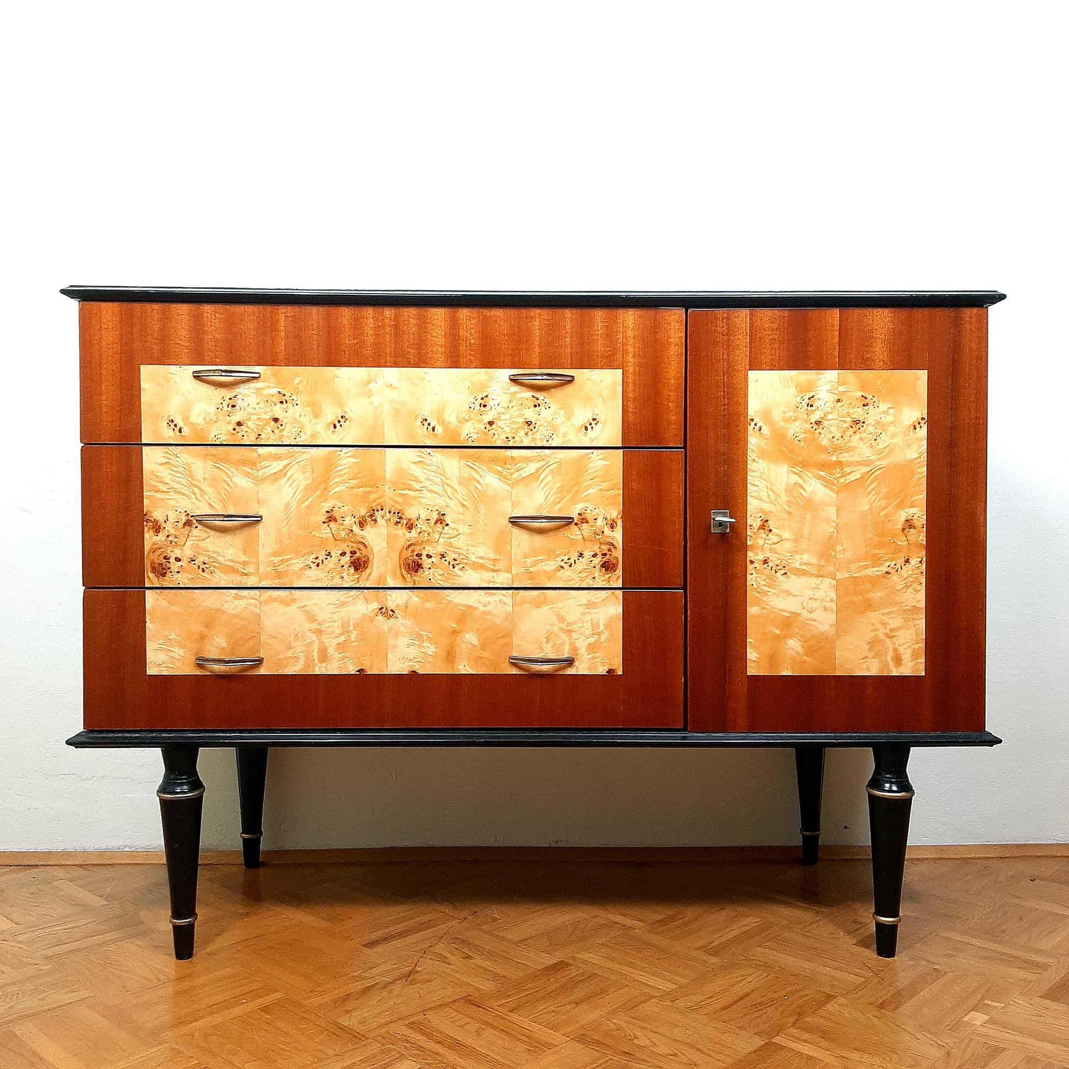 Mid-century Wood Sideboard 1970s Yugoslavia Polished Furniture Mahogany Birdseye Maple Console Table Retro Modern