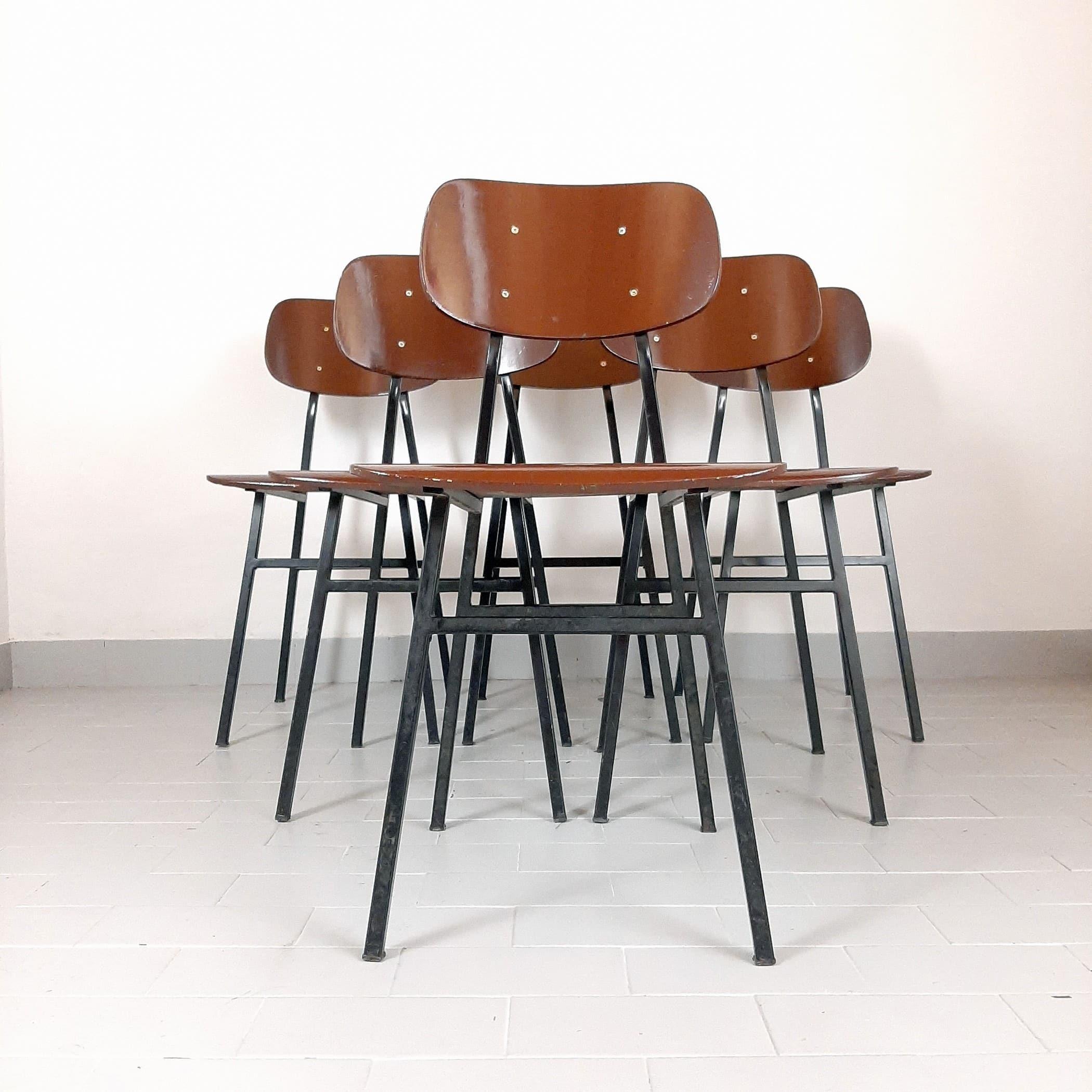 1 of 24 Retro office school chair from Niko Kralj for Stol Kamnik 1960s Home office Mid-century desk chair Brown chair