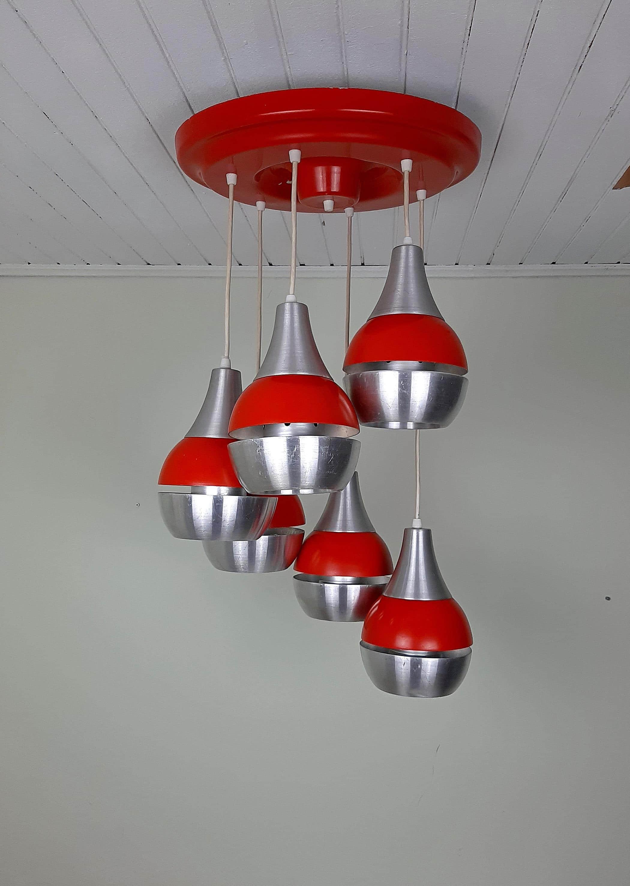 Mid-century Cascade Pendant lamp Made in Yugoslavia Space Age Retro light Cascade Lamp Atomic Hanging Light