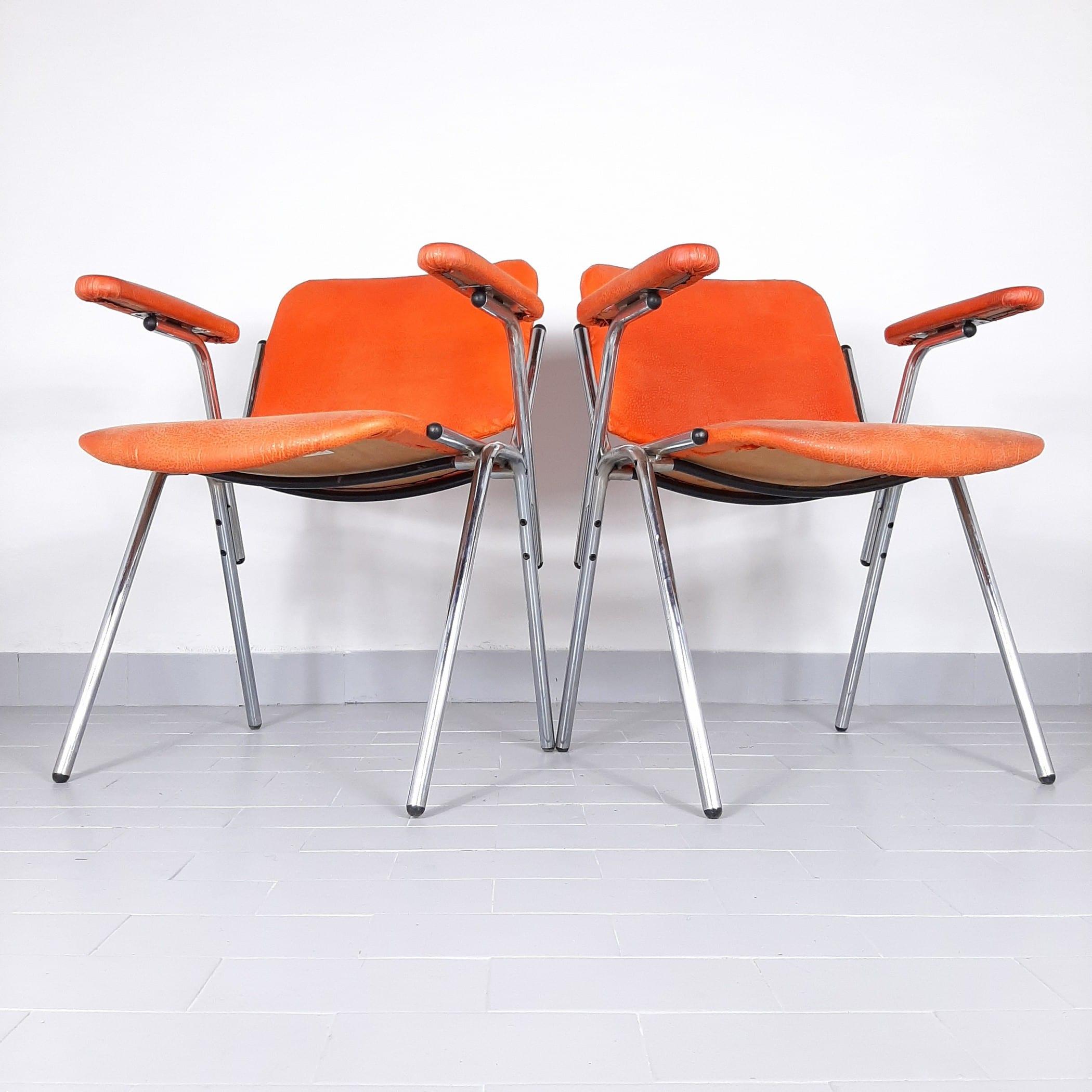 1 of 2 Mid-century office chair Stol Kamnik Yugoslavia 1980s Original Orange leatherette Metal Chrome Leg Retro office
