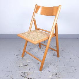 1 of 2 Retro folding chairs with rattan seat Italy 70s Mid-century wooden furniture