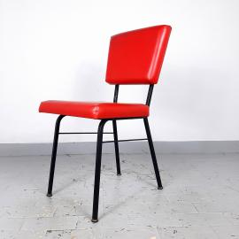 Retro dining chair Mobili Polli Italy 1969 Mid-century office chair Red desk chair