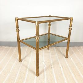 Vintage coffee table Italy '70s Retro decor Mid-century drink table Retro serving table Art deco Smoked Glass & Brass Table