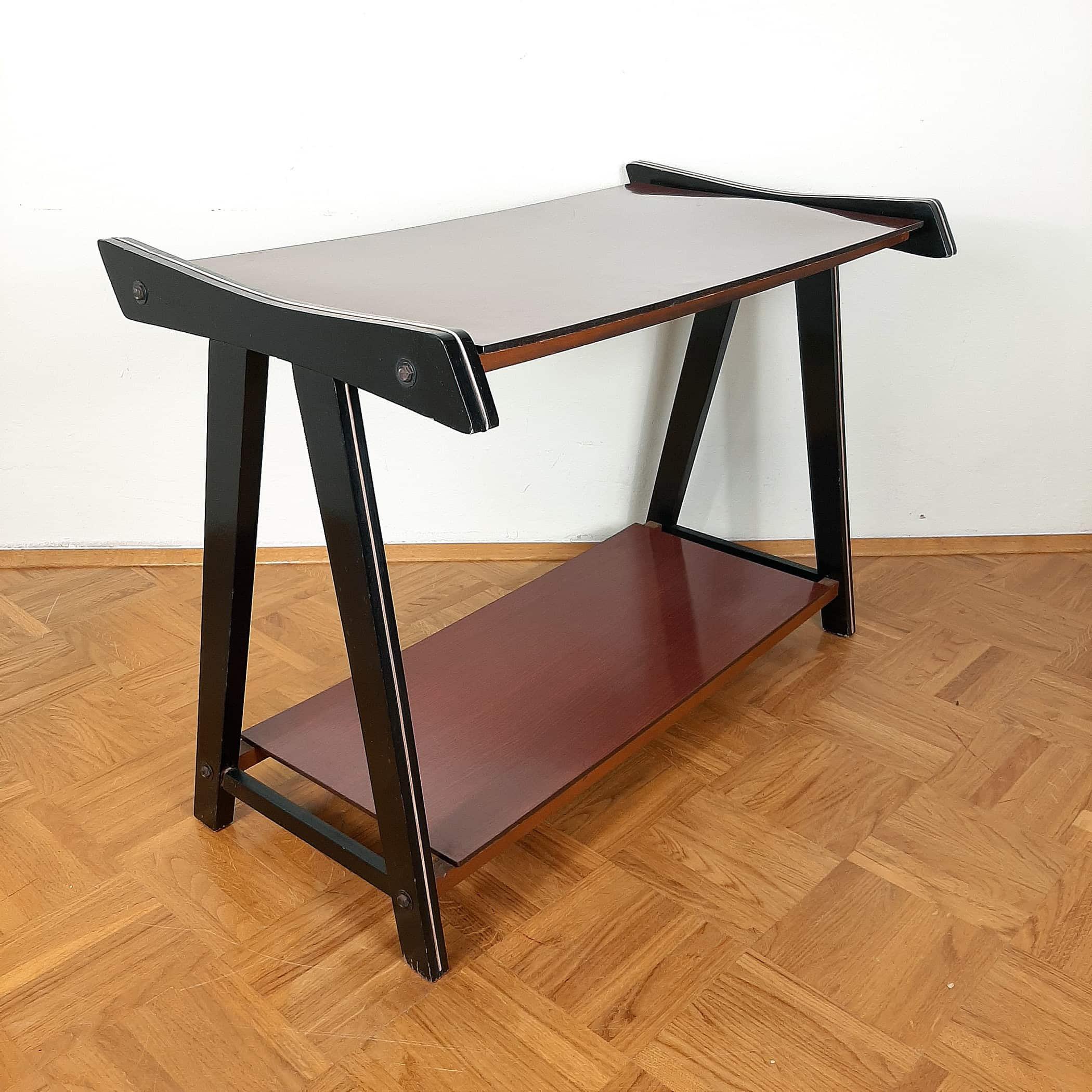 Mid-century tv or radio console table Yugoslavia 1970 mid-century desk red Black table Retro furniture