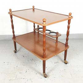 Retro serving bar cart Italy 80s Mid-century drink table Wood trolley bar