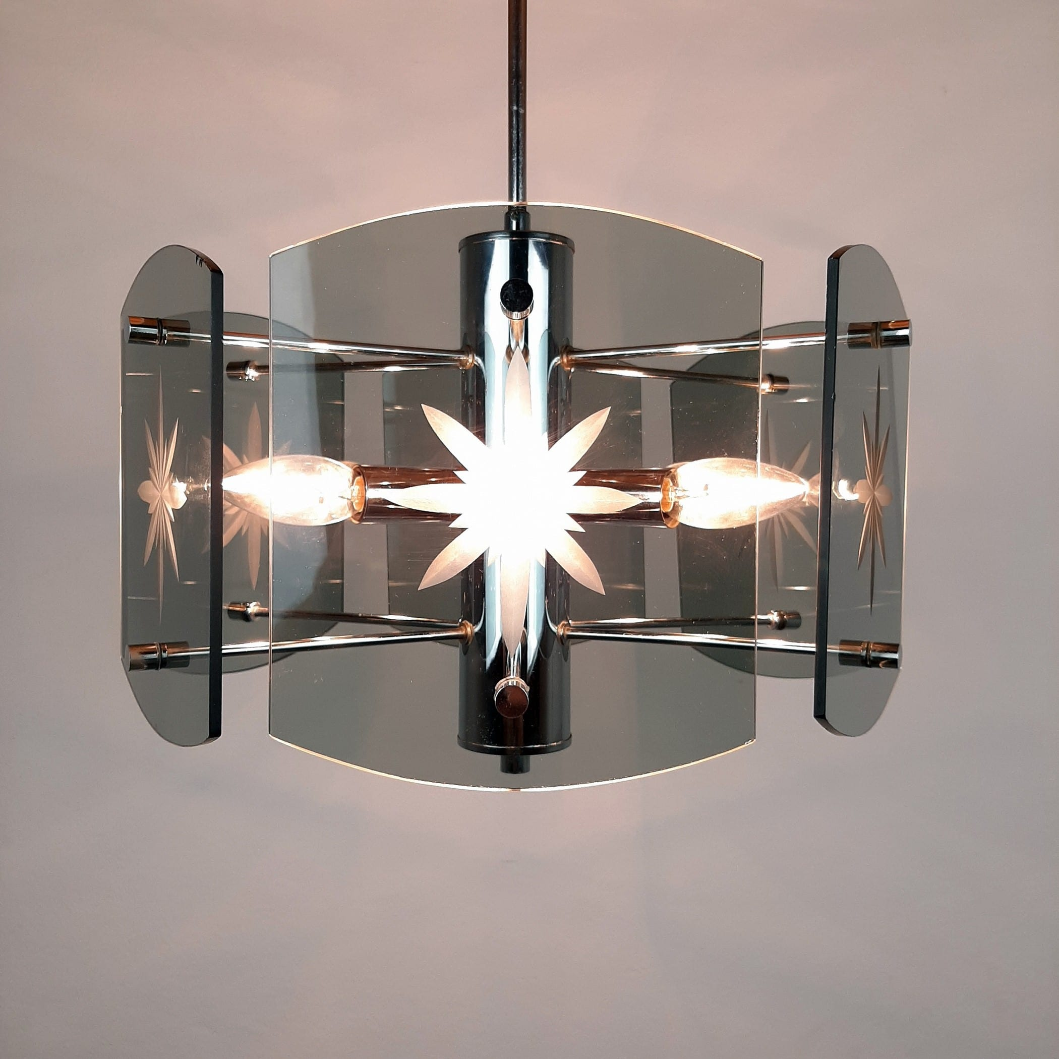Retro glass pendant lamp EMI Poljcane Yugoslavia '70s Grey & Silver Smoked Glass Mid-century Modern Smoked Glass Fontana Arte Veca Style