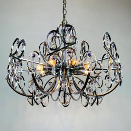 Mid-century metal crystal chandelier Italy 1970s Sciolari style