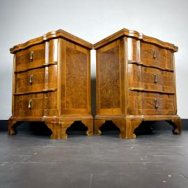 Pair of vintage wood bedside stands Italy 1950s wooden nightstands