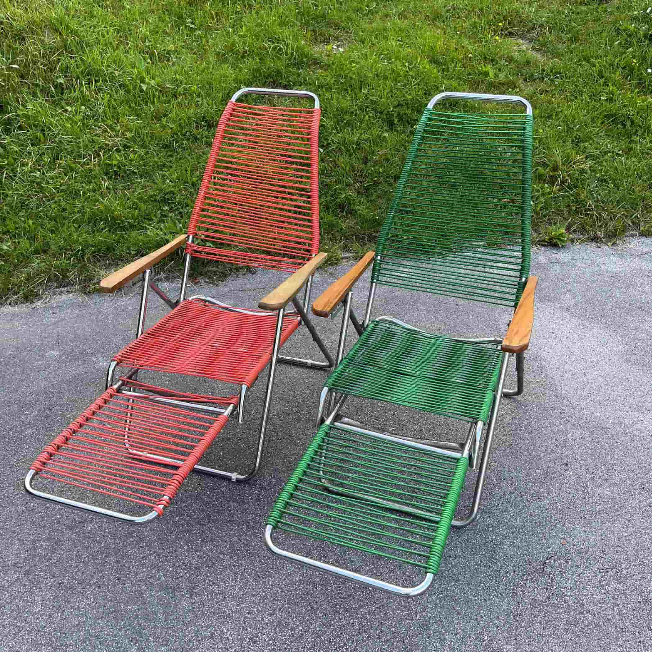 1 of 2 Vintage vinyl folding chair Italy 1970s Creen and Red camping lawn chair patio furniture