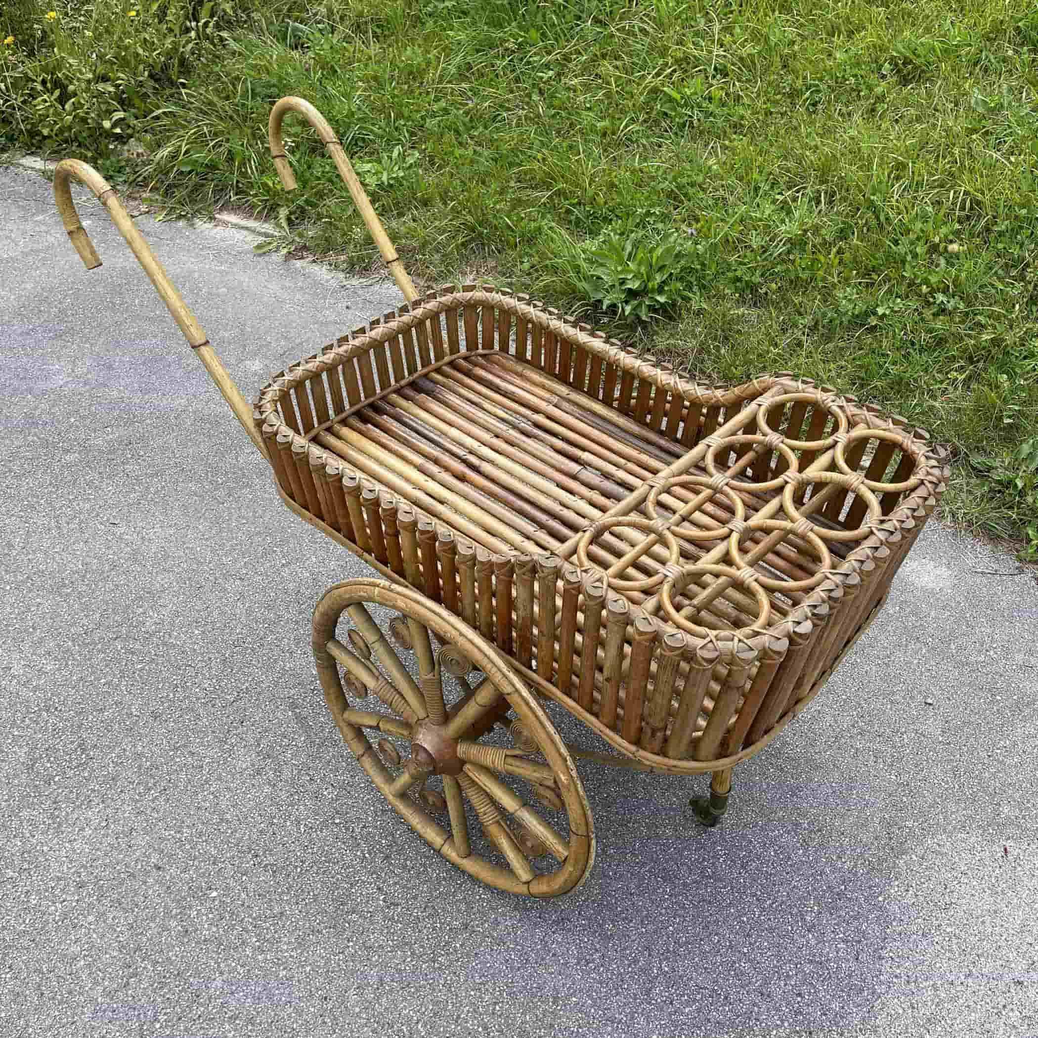 Servirni vozicek bamboo Italy 1970s