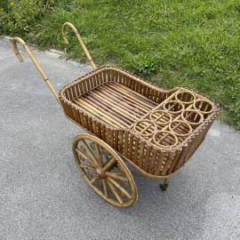Rare vintage bamboo trolley bar Italy 1950s Mid-century serving bar cart