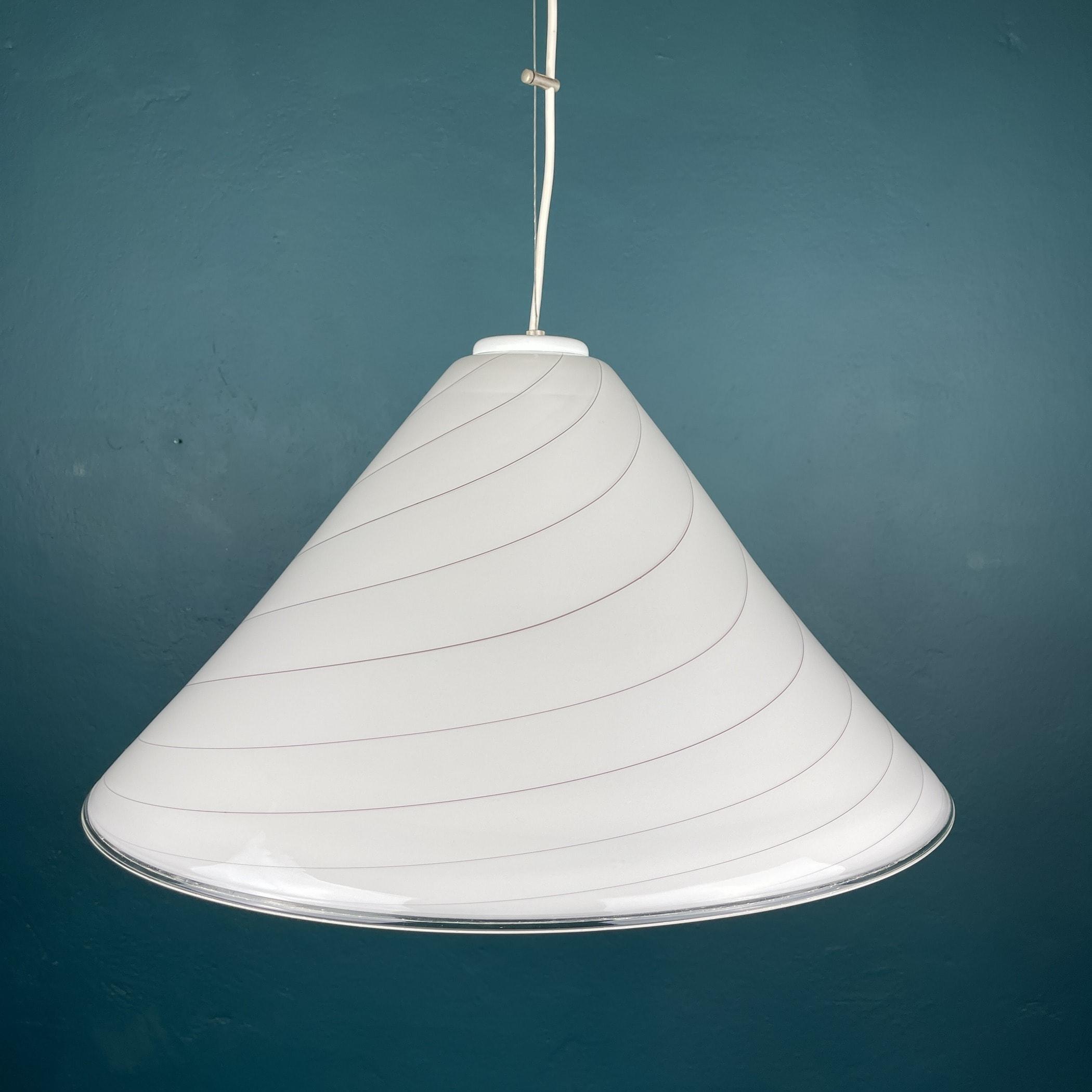 Vintage swirl murano white pendant lamp Italy 1970s Mid-century italian light
