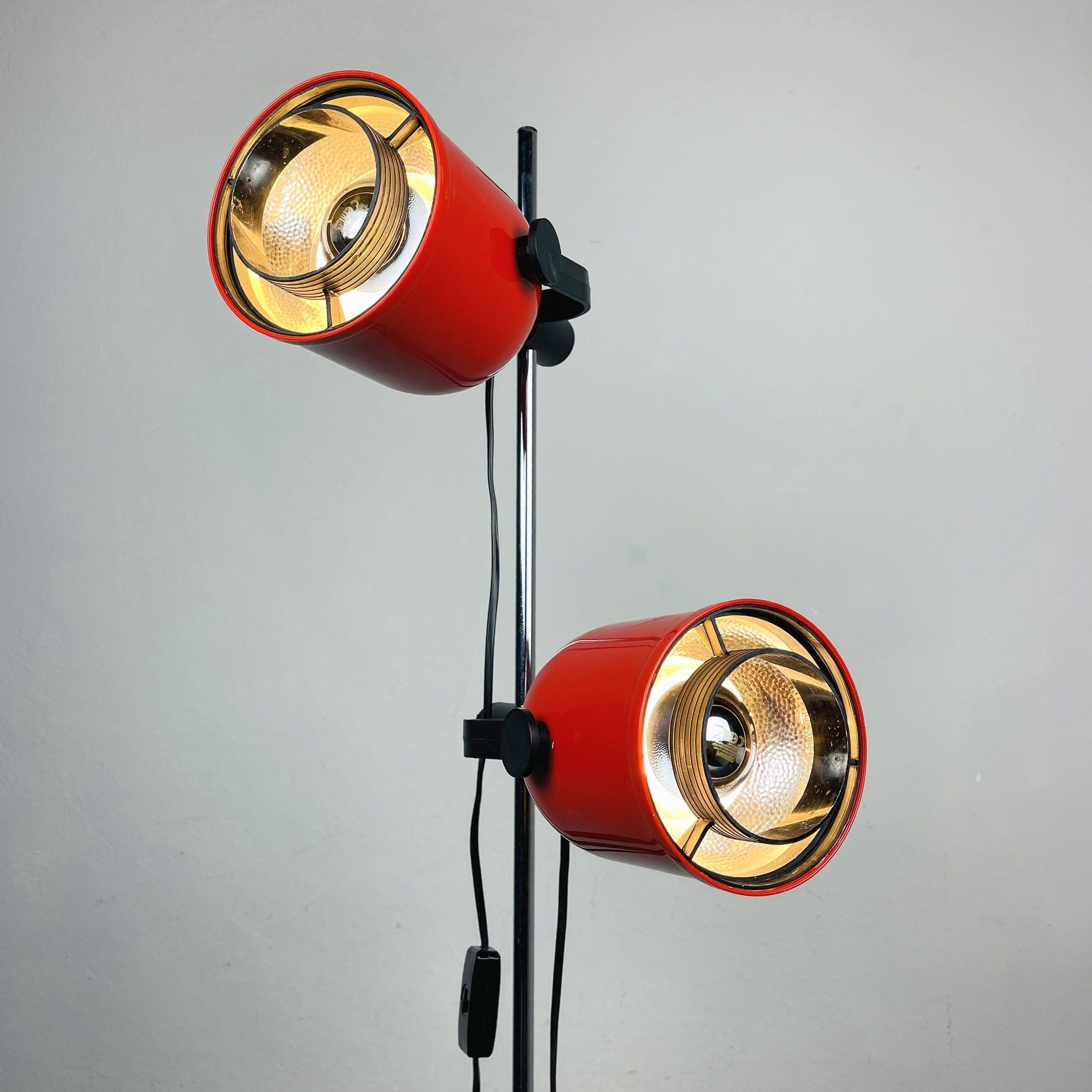 Retro red floor lamp Austria 1990s Mid-century lighting Space age
