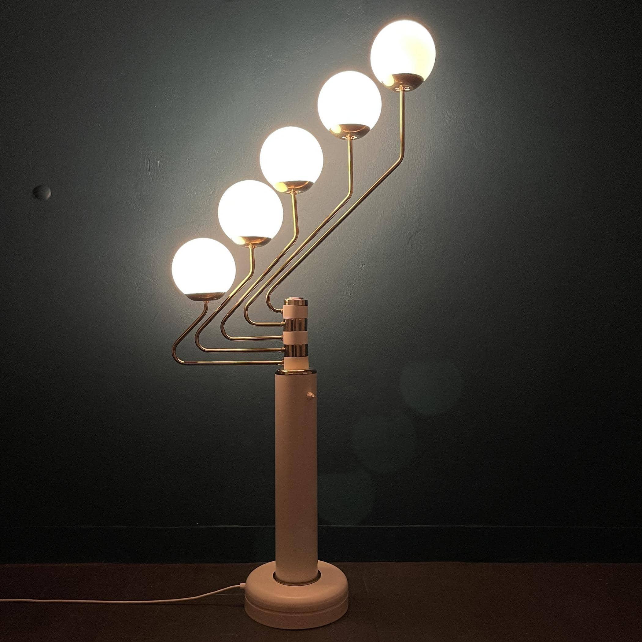 Mid-century white gold floor lamp Germany 1960s Space Age Sputnik