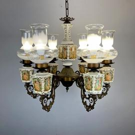 Vintage large porcelain brass chandelier Italy 1950s 6 lights Antique capodimonte style luxurious porcelain chandelier