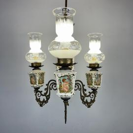Vintage porcelain brass chandelier Italy 1950s 3 lights antique capodimonte style luxurious porcelain chandelier