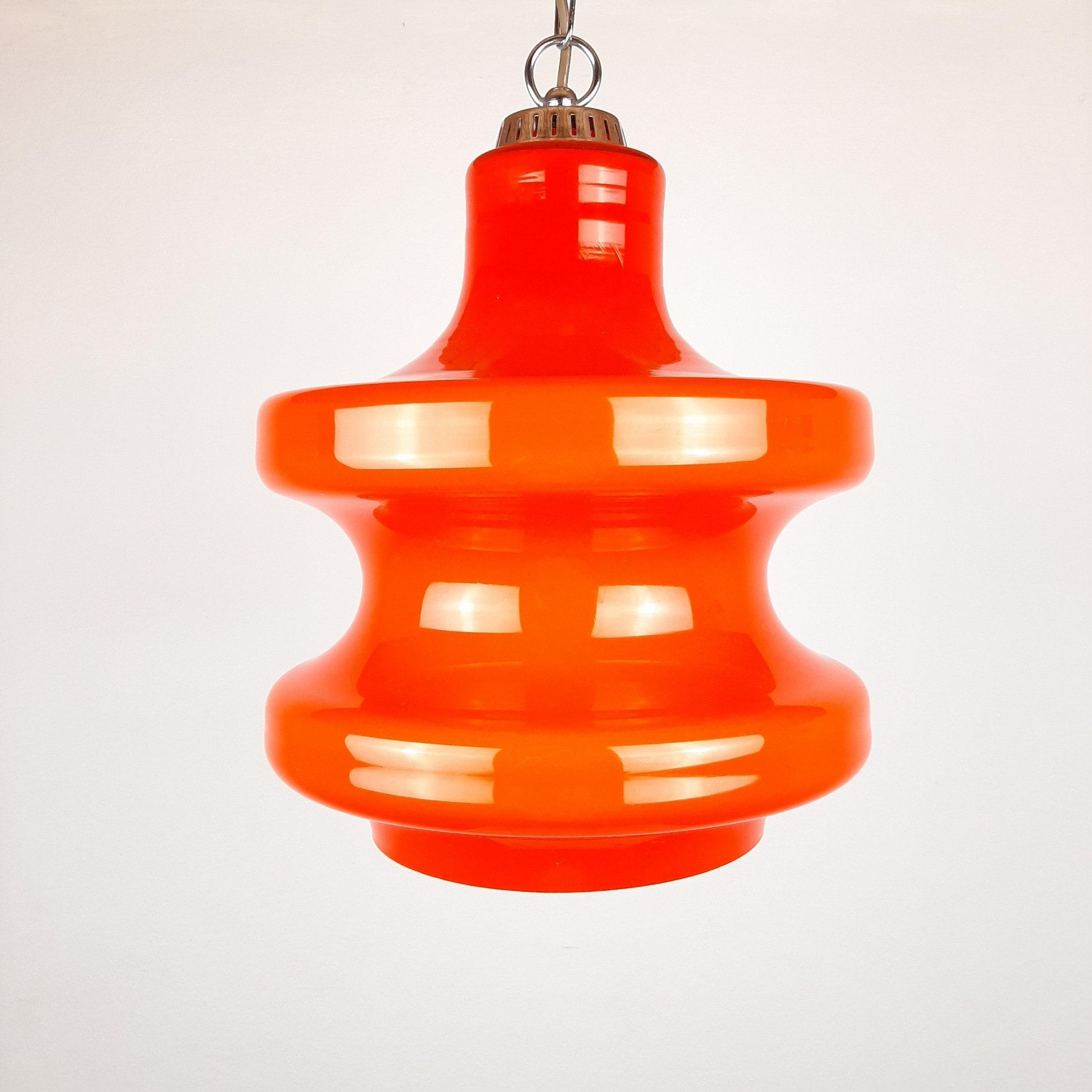 Mid-century pendant lamp Emi Poljcane Orange glass Yugoslavia 70s Retro lighting Space age Atomic