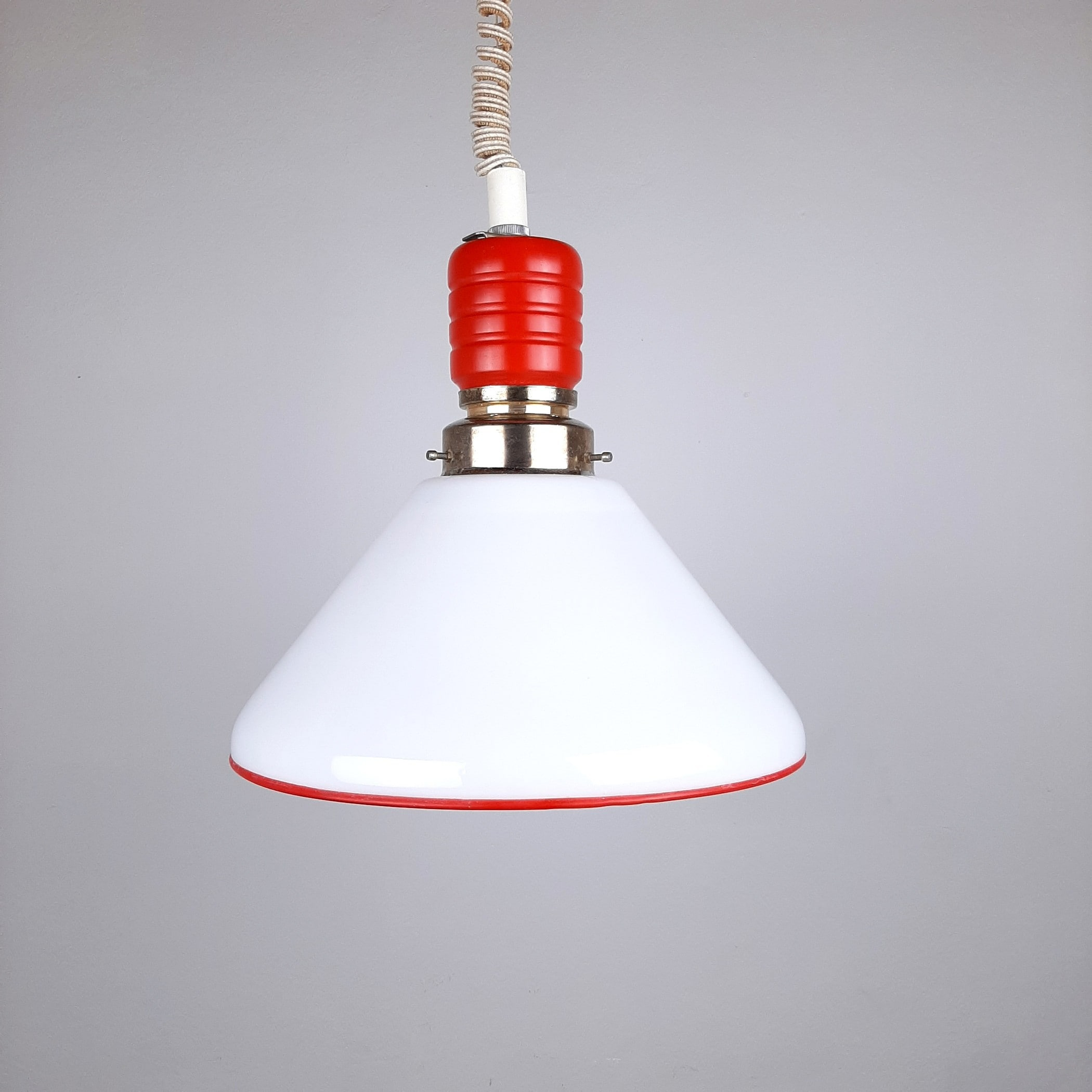 Retro pendant lamp Italy 70s Glass Wood Red&White Farmhouse Cottage MCM Vintage lighting Retro Home Decor
