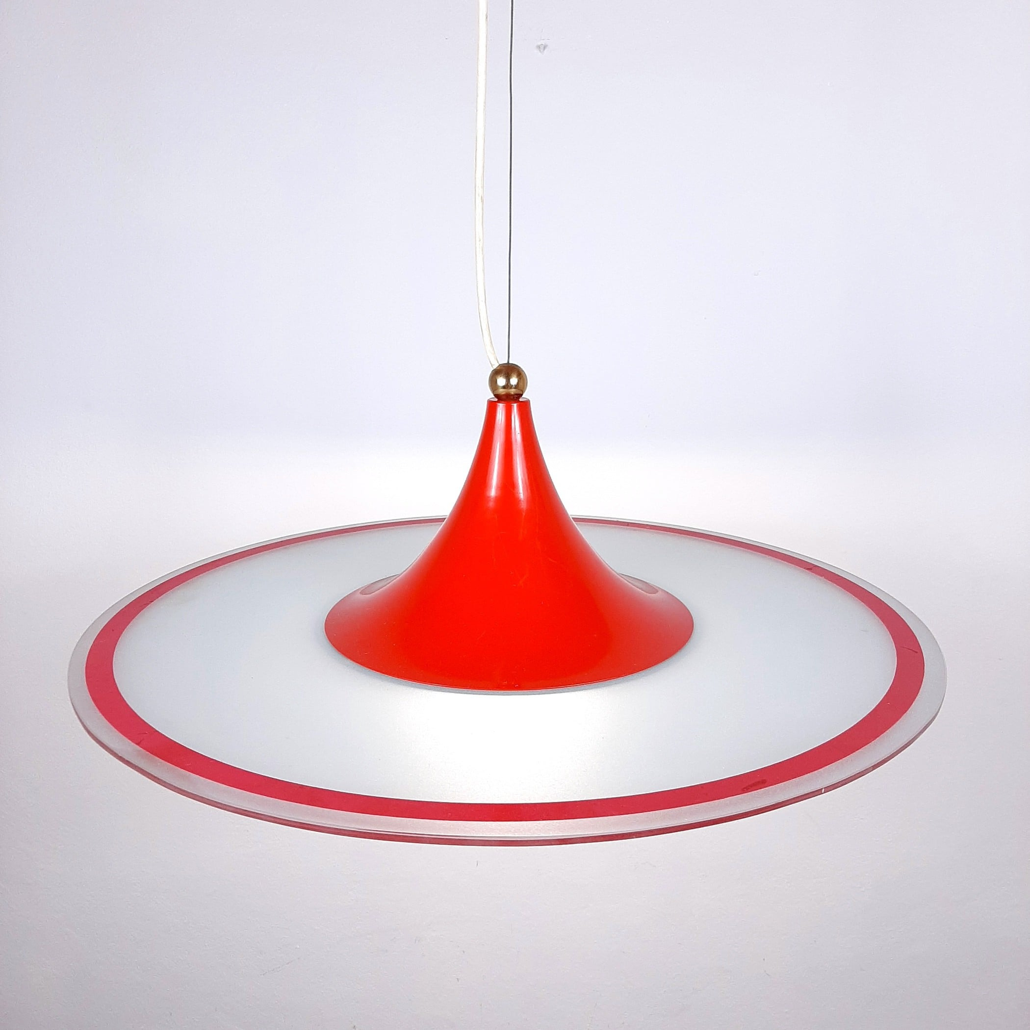 Mid-century pendant lamp Italy 60s Red retro chandelier space age atomic vintage lighting
