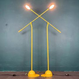 Pair of yellow floor lamps Yugoslavia 1960s Industrial Mid-century lighting Space age