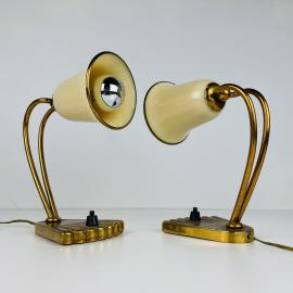 Pair of mid-century murano bedside lamps Italy 1950s Set of 2 vintage opaline murano table lamp retro home decor