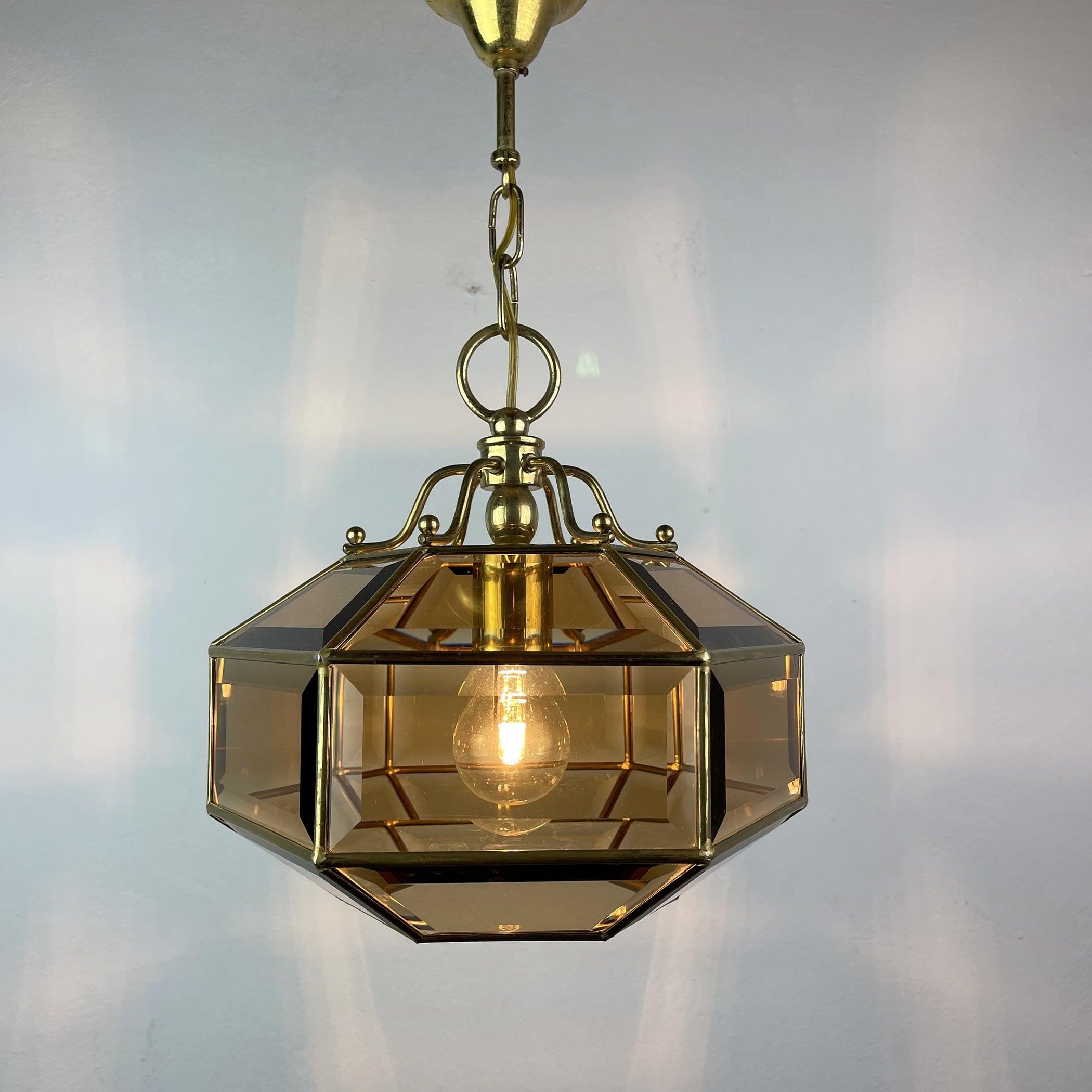 Vintage diamond pendant lamp Italy 1960s Gold brass hex crystal lamp