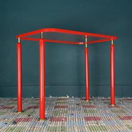 Mid-century red metal coffee table Italy 1960s Industrial Vintage Loft table