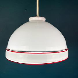 Vintage murano glass pendant lamp Italy 70s Mid-century lighting Modern Retro home decor White and Red Space Age