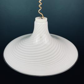 1 of 2 Retro swirl Murano glass pendant lamp Vetri Murano 004 Italy 70s White Mid-century Lighting Vintage chandelier