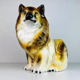 Vintage glazed ceramic sculpture dog Italy 1960s Retro home decor mid-century italian decoration