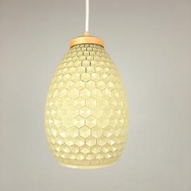 Rare glass pendant lamp GDR Germany 1960s Yellow honeycomb Pineapple Shabby chic Farmhouse Retro home decor