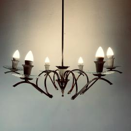 Mid-century chandelier spider chandelier by Pietro Chiesa for Fontana Arte Italy 1940s Romantic Chandelier Brass and Glass Ceiling Light