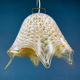Mid-century murano glass pendant lamp Fazzoletto by La Murrina Italy 1970s Vintage italian lighting