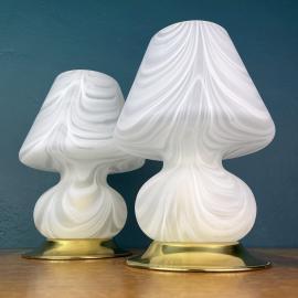 Pair of murano table lamps Mushroom Italy 1980s Italian Modern Retro home decor