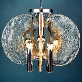 Mid-century ice murano glass chandelier by Mazzega Italy 1970s Rare vintage pendant italian lamp