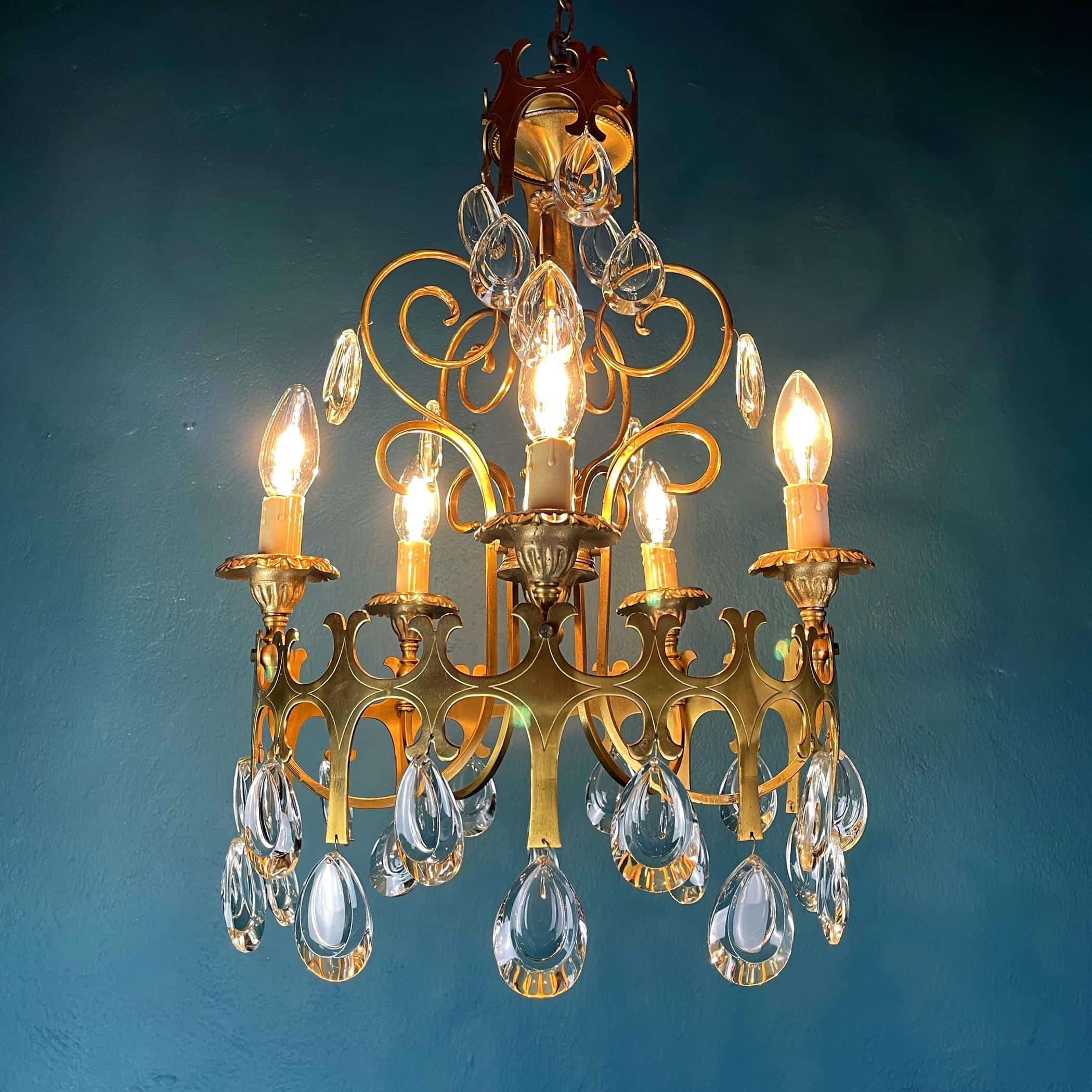 Vintage chandelier with crystal drops Italy 1960s 5 arms bronze and crystal italian chandelier