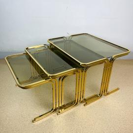 Set of 3 mid-century gold brass coffee tables Italy 1960s Vintage art deco modern coffee table
