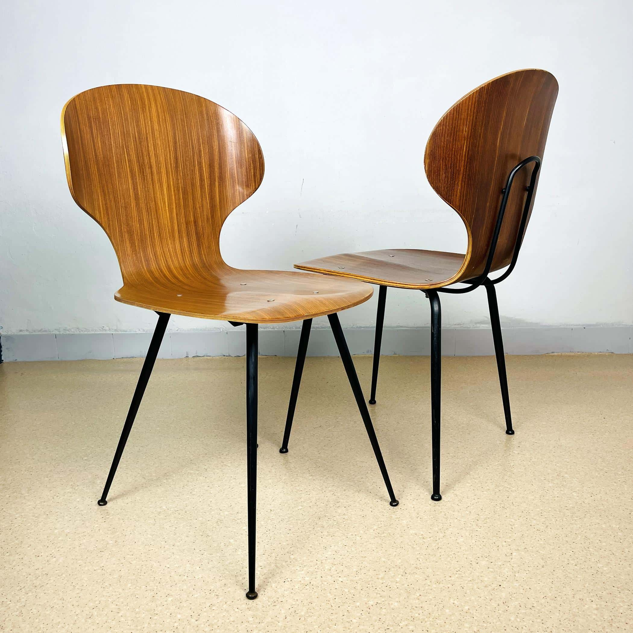 1 of 2 Mid-century dining chair Lulli Chairs by Carlo Ratti for Industria Legni Curvati Lissone Italy 1970s