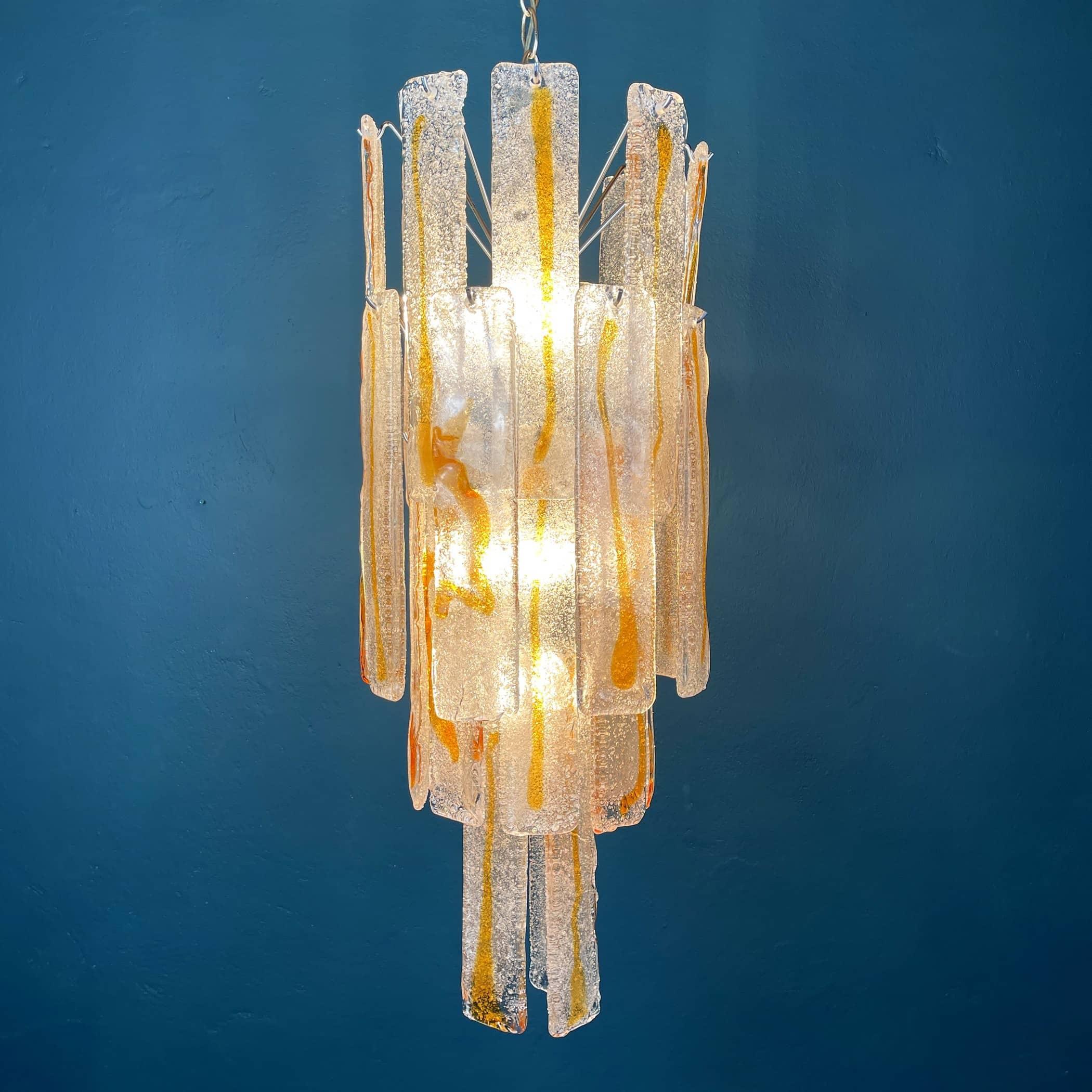 Mid-century large Murano glass chandelier Mazzega Italy 1970s Vintage italian lighting Space age 28 murano plates