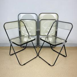 Set of 4 Plia folding chairs by Giancarlo Piretti for Castelli Italy 1970s Italian modern Design Desk Chair diner chair
