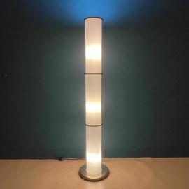 Mid-century white opaline glass floor lamp Italy 1970s Vintage italian lighting