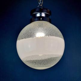 Mid-century XL white murano globe pendant lamp Italy 1970s Space age MCM modern pulegoso murano glass