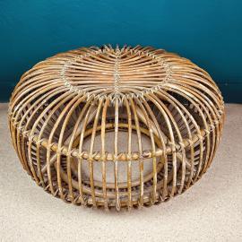 Mid-century wicker rattan ottoman or pouf Italy 1950s MCM modern design Italian rattan furniture