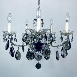 Mid-century black crystal chandelier Italy 1960s 5 arm vintage italian lighting