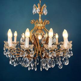 XL vintage crystal chandelier Italy 1950s Hollywood regency Antique Vintage Chandelier Brass lamp