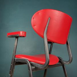 Mid-century red desk office chair Italy 1960s MCM italian modern